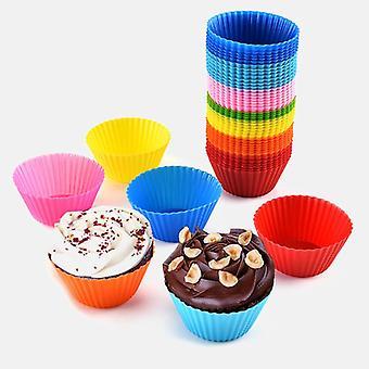 12Pcs/set silicone cake mold round shaped muffin cupcake baking molds kitchen cooking bakeware maker diy cake decorating tools