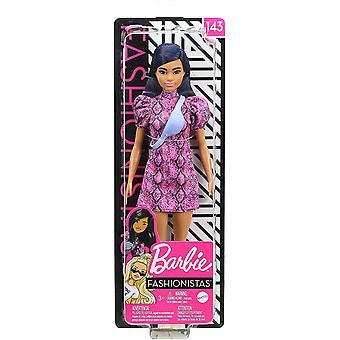 Barbie Fashionistas blått hår iført rosa og svart kjole