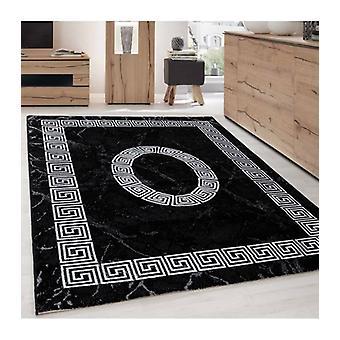Alfombra de pila corta Troy Diseño Ornamento griego Patrón gris negro moteado