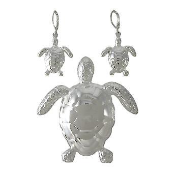 دبوس السلاحف البحرية مطلي بالكروم/مجموعة أقراط قلادة