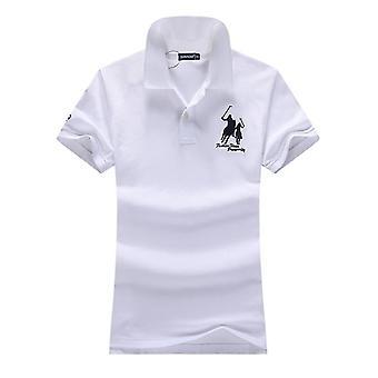 Summer Logo Slim Polo Shirts Big Horse Embroidery Short-sleeved Cotton Women