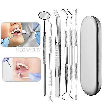 6st Rostfritt stål Dental Kit Instrument Oral Care Tandläkare Förbereda Verktyg| Tandblekning(Silver)
