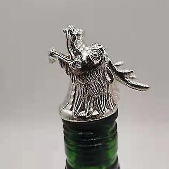 Scandinavische stijl zinklegering dierlijke thema wijn stop en pourer (Silver Kraan Hoofd)