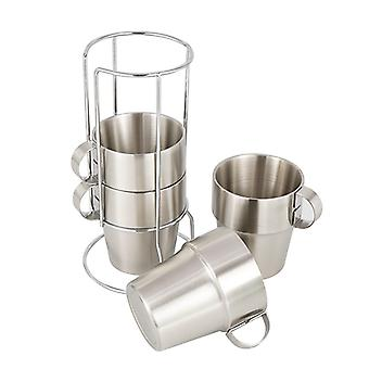 Outdoor Stainless Steel Double-layer Cup 4-piece Set