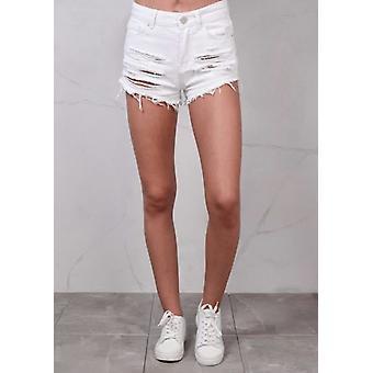Hög midja rippade FRANSAD kant Denim Hotpants Shorts White