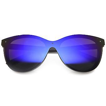 Uni-Lens Retro gehoornde Rim kleur Mirror Lens zonnebril