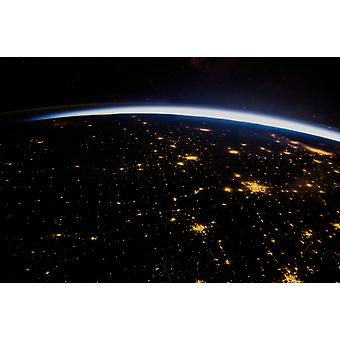 View of planet Earth from space showing night over Texas USA Poster Print by Panoramic Images