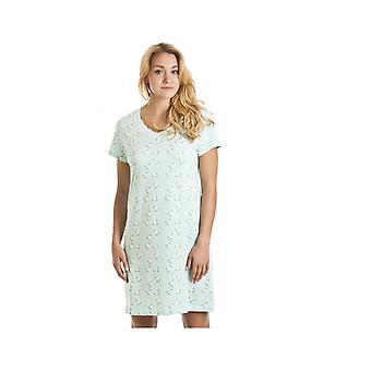 Camille Aqua blå og hvit Floral Print Nightdress