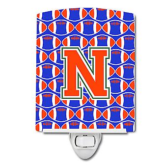 Letter N Football Green, Blue and Orange Ceramic Night Light