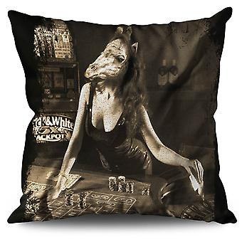 Girl Beast Gamble Linen Cushion 30cm x 30cm | Wellcoda