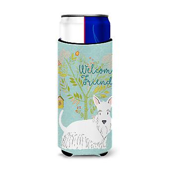 Welcome Friends White Scottish Terrier Michelob Ultra Hugger for slim cans