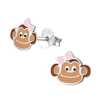 Monkey-epoksi väri + 925 Sterling hopea värikkäät korva napit-W26507X