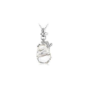 Pendentif Papillons orné de cristaux de Swarovski Blanc et Plaqué Rhodium 2398