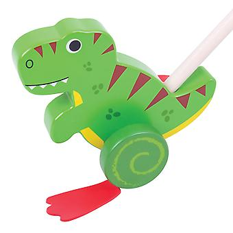 Bigjigs Toys Wooden T-Rex Push Along Walker Walking Babies Toddlers