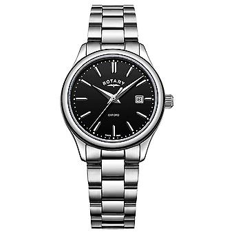 Rotary Womens Oxford Stainless Steel Bracelet Black Date Dial LB05092/04 Watch
