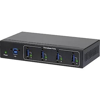 Renkforce 4 ports USB 3.0 hub meets industrial requirements, wall mount option Black