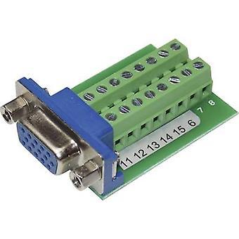 Conrad komponenter VGA15F-16TB-2 VGA-kontakten kontakten, loddrett loddrett antall pinner: 15 sølv 1 eller flere PCer