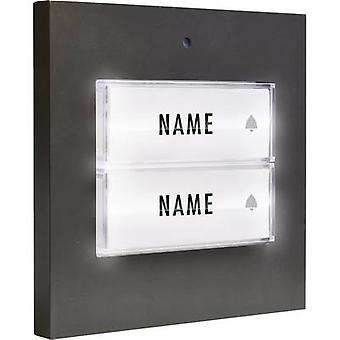 m-e modern-electronics 41051 Bell button backlit, incl. nameplate Semi-detached Anthracite 8-24 V AC/DC/1 A