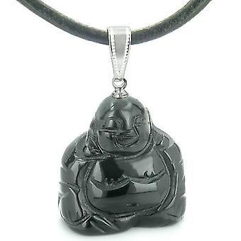 Held og lykke charme glad siddende Buddha Amulet sort Onyx ædelsten åndelige beføjelser vedhæng halskæde