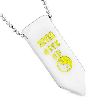Never Give Up Reversible Amulet Balance Yin Yang Powers Arrowhead White Quartz Pendant Necklace