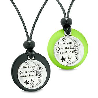 Jeg elsker deg til månen og tilbake par beste venn Amulet agat grønne simulert katter øye halskjeder
