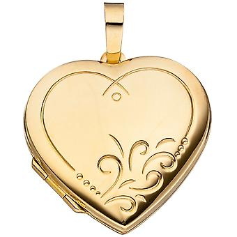 Heart Medallion Locket heart 925 sterling silver gold plated pendant heart pendant silver