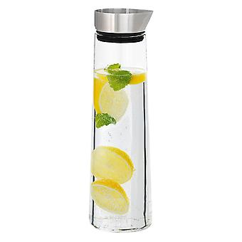 Water carafe stainless steel matt combined with glass, 1 litre capacity