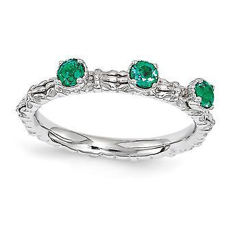 2.5mm 925 Sterling Silver polerad Prong set Rhodium pläterade stapelbara uttryck skapade Emerald Tre Sten Ring Jewel