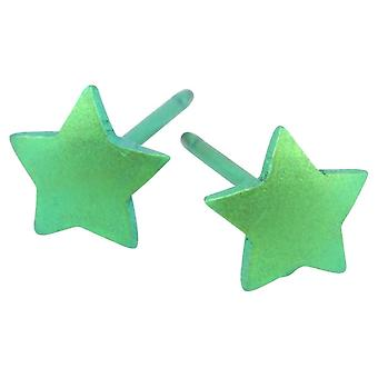 Ti2 Titanium Geometric Star Stud Earrings - Fresh Green