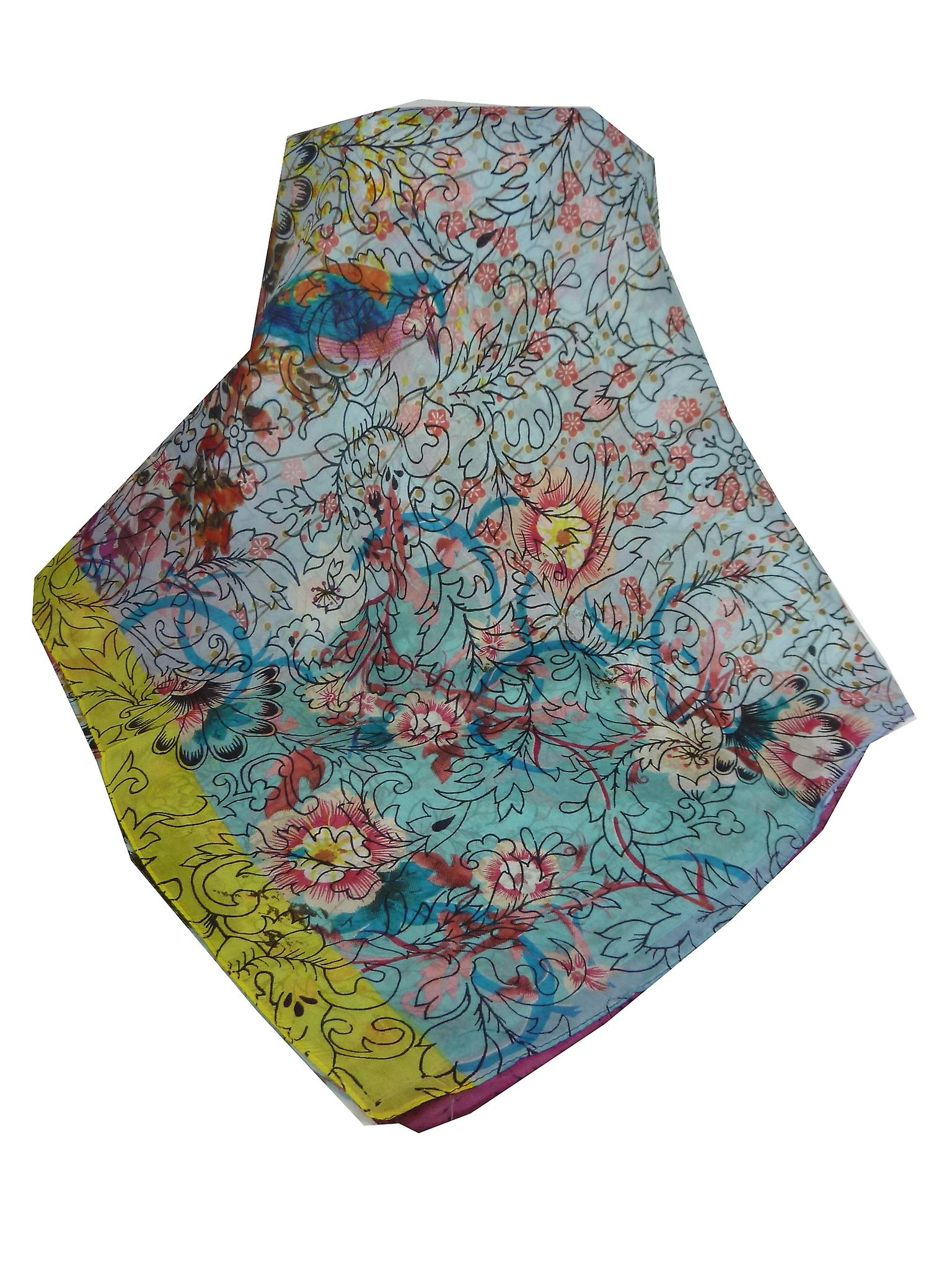 Mulberry Silk Contemporary Square Scarf Zeenat Hibiscus by Pashmina & Silk