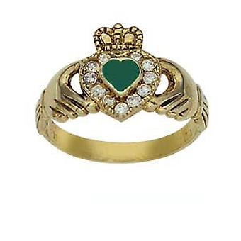 9kt guld 13mm grøn agat & CZ sæt damer Claddagh Ring størrelse Q