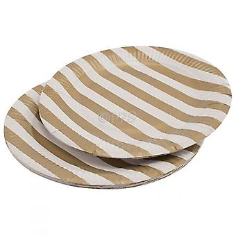 Pack of 20 Plates Paper Gold Striped 23cm Diameter