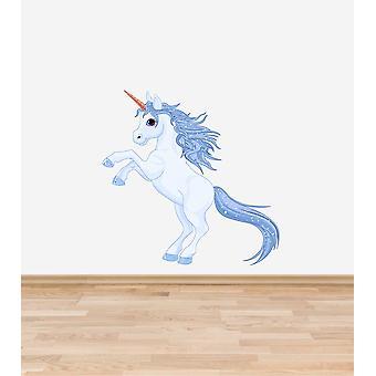 Full Colour Ice Blue Unicorn Wall Sticker