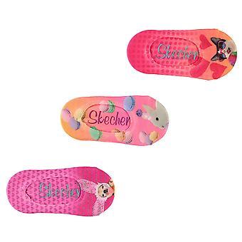 Skechers bambini stampato Liner calzini Pack 3 ragazze