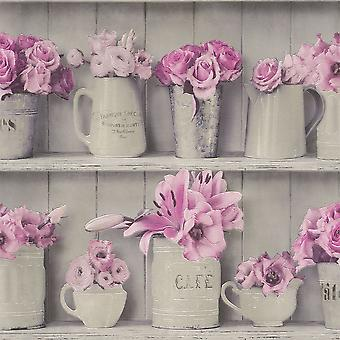 Purple Grey Flowerpot Wood Shelf Wallpaper Kitchen Bathroom Washable Vinyl Rasch
