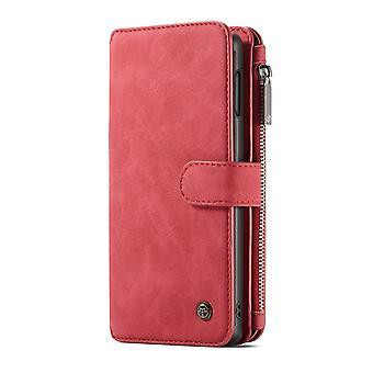 CASEME Samsung Galaxy S10e Rétro portefeuille en cuir Case-rouge