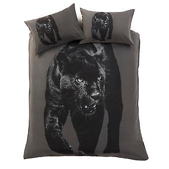 3D Black Panther Animal Grey Duvet Cover Cotton Rich Bedding Set Pillow Case