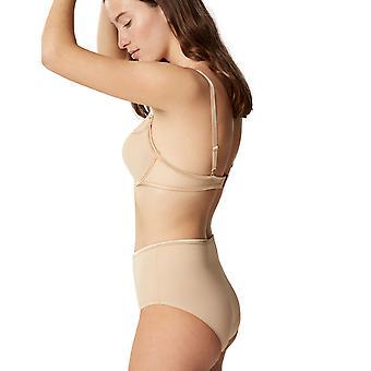 Maison Lejaby 5564M-389 Women's Nuage Pur Power Skin Beige Satin Full Panty Highwaist Brief