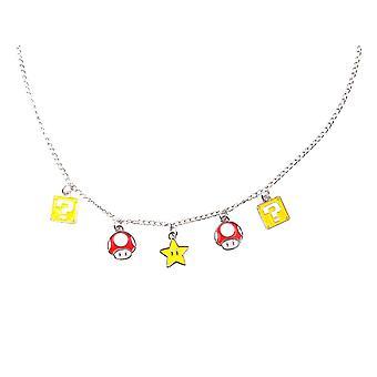 Super Mario Bros. Mushroom, Question Block and Star Charm Necklace