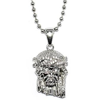Silver Plated Micro Jesus Piece with 30 inch Ball chain Necklace