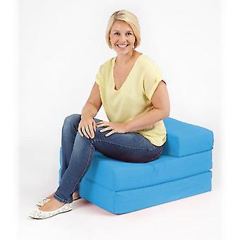 Klar stabil seng | Komfortabel supreme kvalitet 100% bomuld enkelt fold ud Z seng stol Futon i sort. Blød, komfortabel og let med aftageligt betræk (turkis)