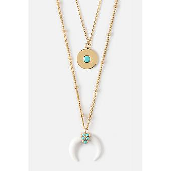 Orelia Jewellery Coin Embellished 2 Row Necklace