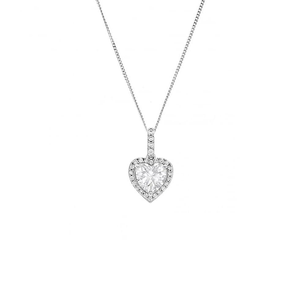 Eternity 9ct White Gold Cubic Zirconia Heart Pendant And 18'' Chain