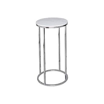 Gillmore White Marble And Silver Metal Contemporary Circular Lamp Table