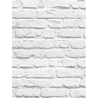 Malet hvid mursten tapet Muriva 102539
