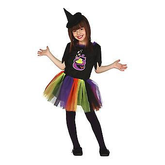 Filles Halloween Rainbow Cauldron Witch Fancy Dress Costume