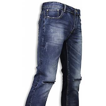 Basic Jeans-Damaged Knee Regular Fit-Blue