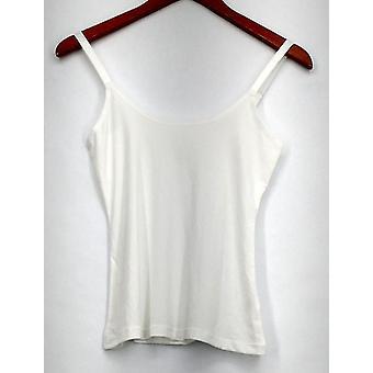 Susan graver hemd vloeibare brei Scoop nek verstelbare bandjes wit A274526