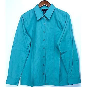 デニム&Co. ロングスリーブ ビッグシャツ コントラストターコイズ A118251