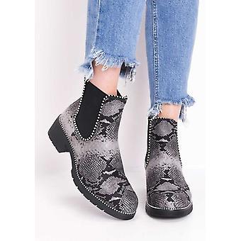 Snake afdrukken Faux Suede Chunky bezaaid Chelsea Ankle Boots Multi grijs